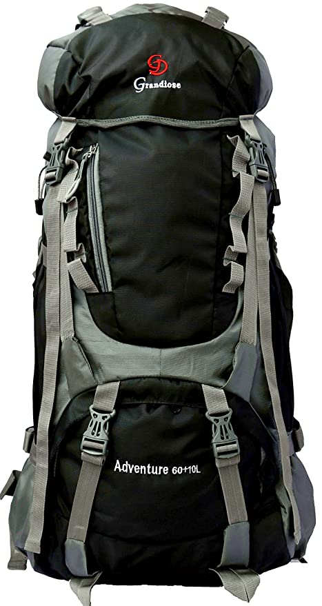 805fa353ebcd Image Unavailable. Image not available for. Colour  Grandiose 70L Black Hiking  Backpack Rucksack ...