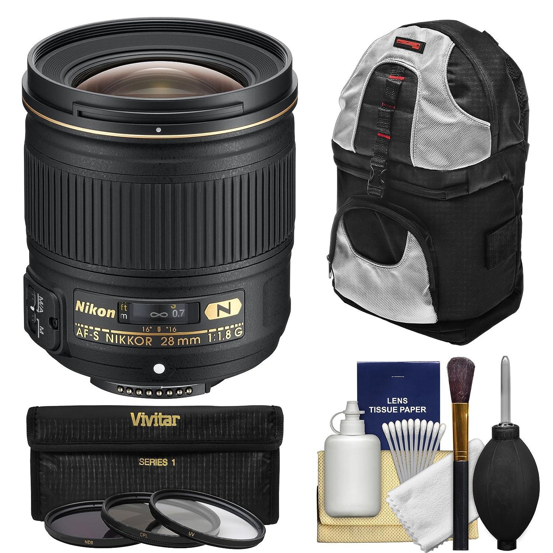 Nikon 28 mm f / 1.8g af-s Nikkorレンズwith 3 UV/CPL / nd8フィルタ+スリングバックパック+キットfor d3200、d3300、d5200、d5300、d7000、d7100、d610、d800、d810 & d4s DSLRカメラ   B00LWD59CS