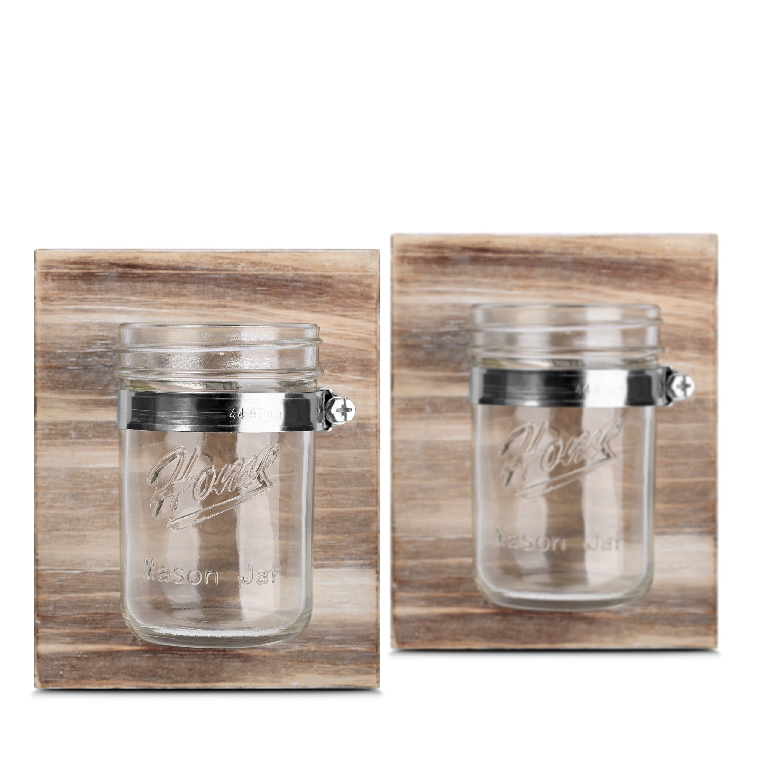 Gbtree Rustic Décor Mason Jar Planter - Wall Decoration Solid Wooden Board Office Organization and Even Bathroom Toothbrush Holder in Brown(Set of 2)