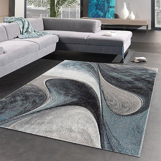 UN AMOUR DE TAPIS 160 x 230 cm Tapis Salon Doux et moeulleux MADILA Bleu,  Gris, Noir Tapis Moderne de créateur