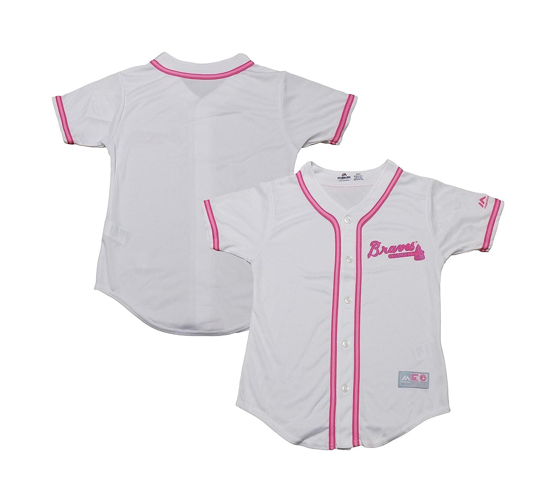 Outerstuff Atlanta Braves Girls Youth White Pink Cool Base Blank Jersey