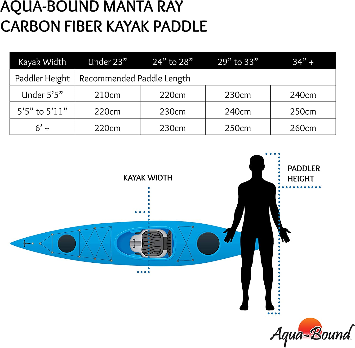 AQUA BOUND Manta Ray Carbon 2-Piece Kayak Paddle