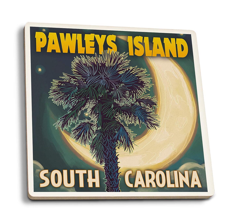 ポーリーズ島、サウスカロライナ州 - パルメットムーンとパーム 4 Coaster Set LANT-52991-CT 4 Coaster Set  B07HFKM3FM