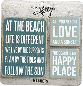 Primitives By Kathy 27502 Wooden Magnet Set, Beach