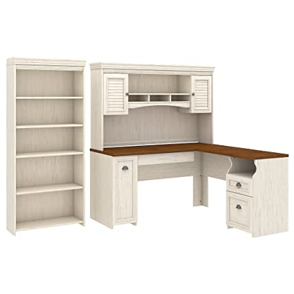 Bush Furniture Fairview L Shaped Desk with Hutch and 5 Shelf Bookcase in Antique  White - Amazon.com: Bush Furniture Fairview L Shaped Desk With Hutch And 5