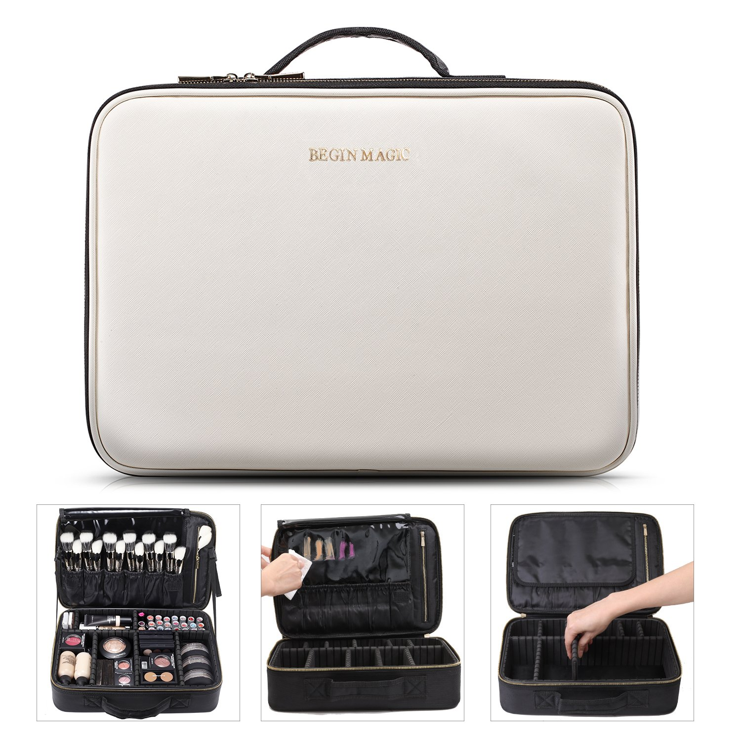 Begin Magic Portable Makeup Train Case/Travel Makeup Bag/Medium Cosmetic Organizer Case With Pu Leather (Black/White) by Begin Magic