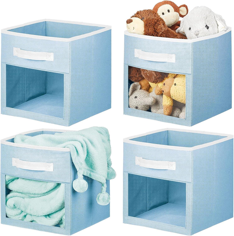 mDesign Soft Fabric Closet Storage Organizer Cube Bin Box with Easy-View Front Window, Handle - for Child/Kids Room, Nursery, Playroom, Furniture Unit, Shelf - 11