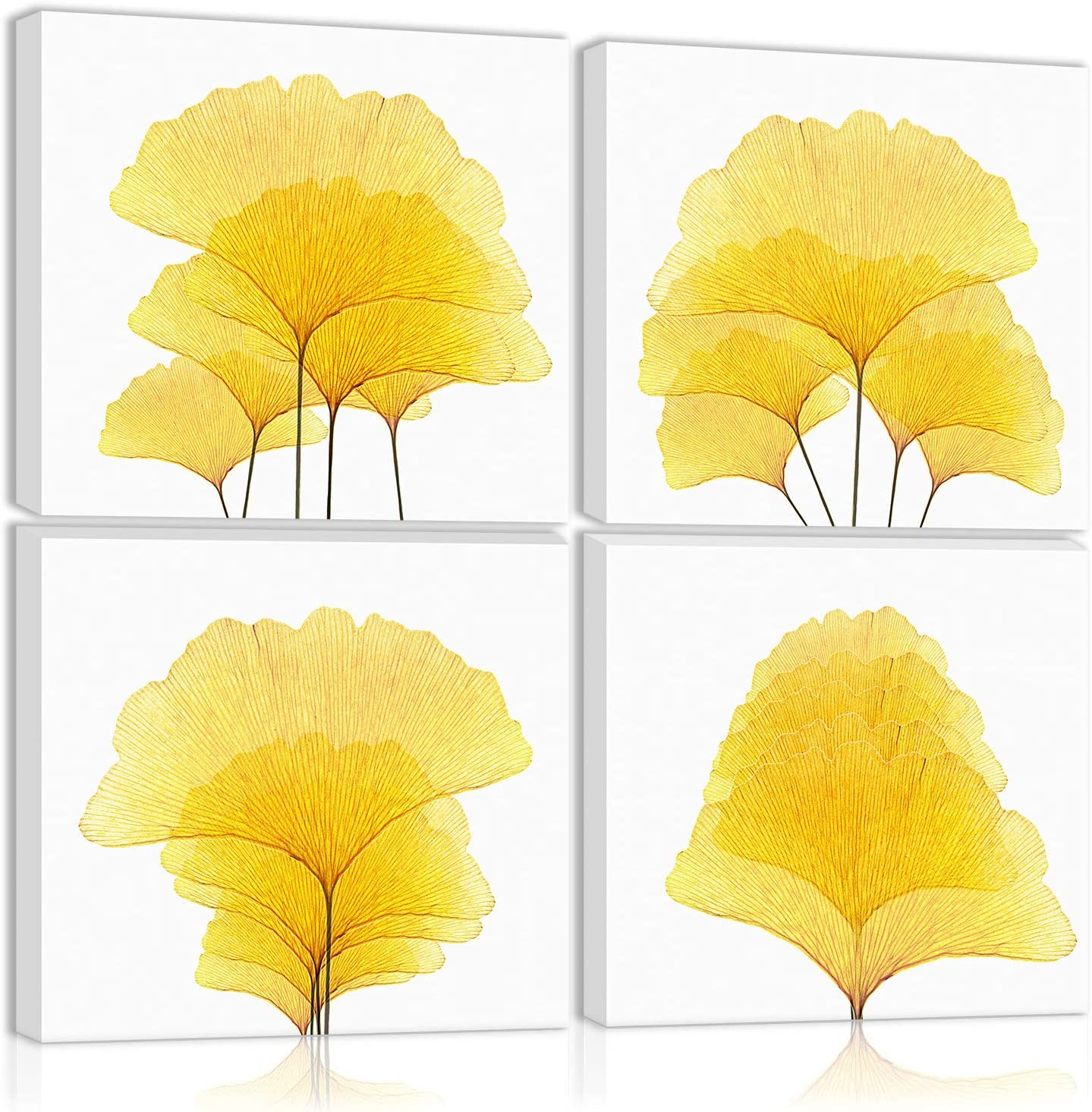 Gold Ginkgo Leaf Wall Art Decor Autumn Leaves Modern Artwork Canvas Painting Prints Pictures Home Decor for Living Room Dining Room Bedroom