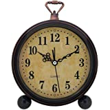 Konigswerk Vintage Alarm Clock, Analog Table Desk Clock Battery Operated for Living Room Decor Shelf (Classic)