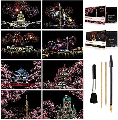 DIY Night View Scratchboard Set: 4 Sheets Scratch Cards /& Clean Brush Drawing Pen A4 for Adults /& Kids Rainbow Scratch Art Painting Paper Cinque Terre // Windmill // Ferris Wheel // Hot Air Balloon