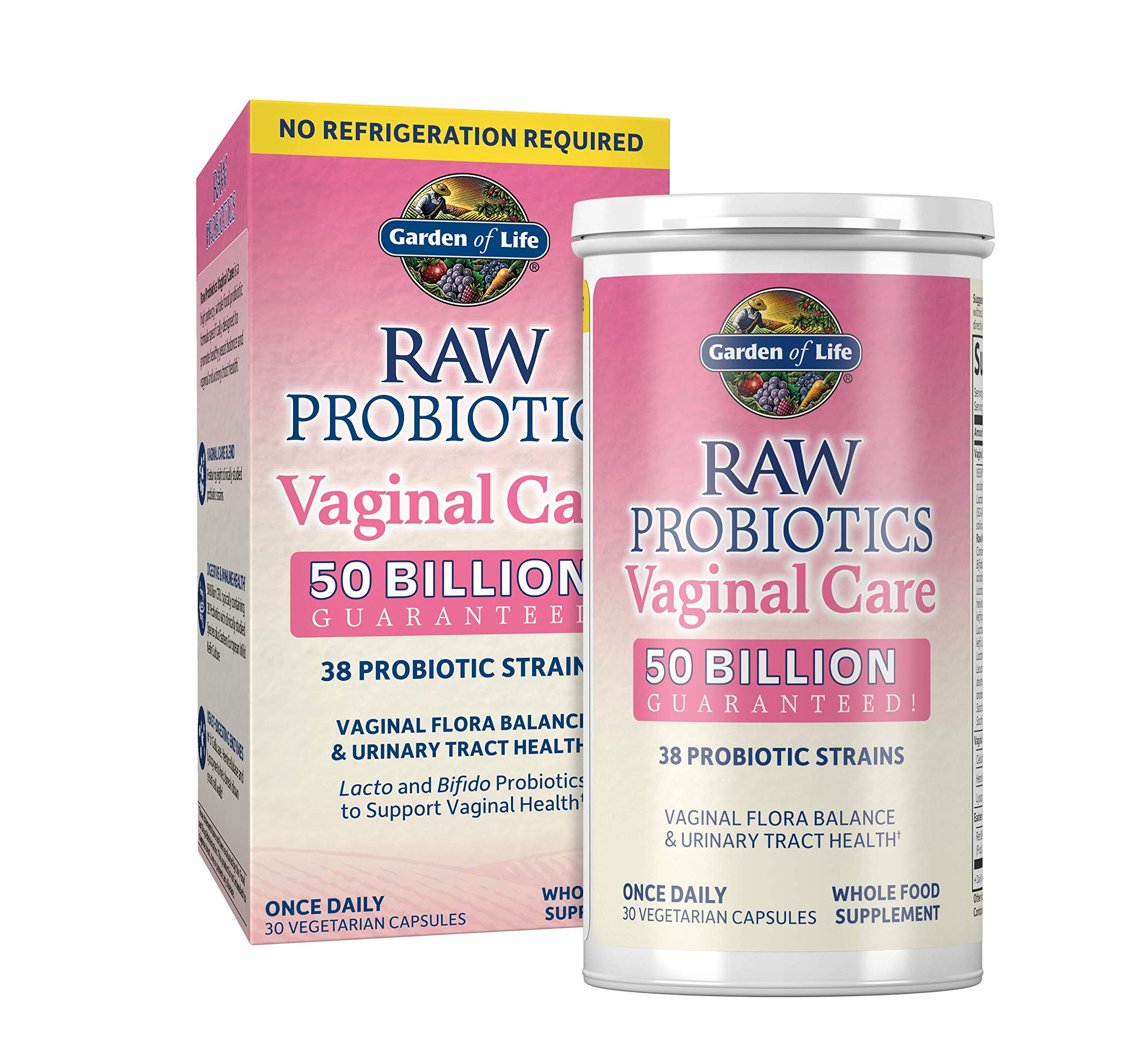Garden of Life RAW Probiotics Vaginal Care Shelf Stable - 50 Billion CFU Guaranteed through Expiration, Acidophilus - Once Daily - Certified Gluten Free - No Refrigeration - 30 Vegetarian Capsules by Garden of Life