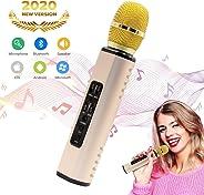 Wireless Bluetooth Karaoke Microphone, Hertekdo Handheld Karaoke Machine for Party/Meeting/Speech, Microphone Speaker System