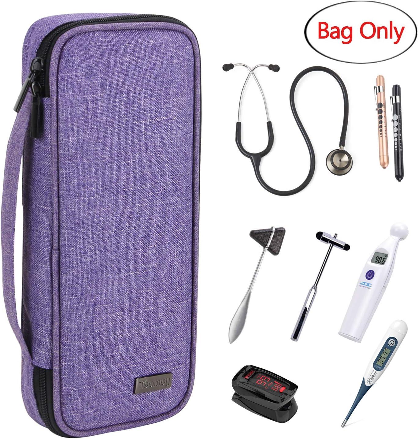 Teamoy estuche para estetoscopio, Bolsa de transporte compatible con el estetoscopio Littmann de 3M, linterna medica, Martillo neurológico y otros accesorios, Púrpura