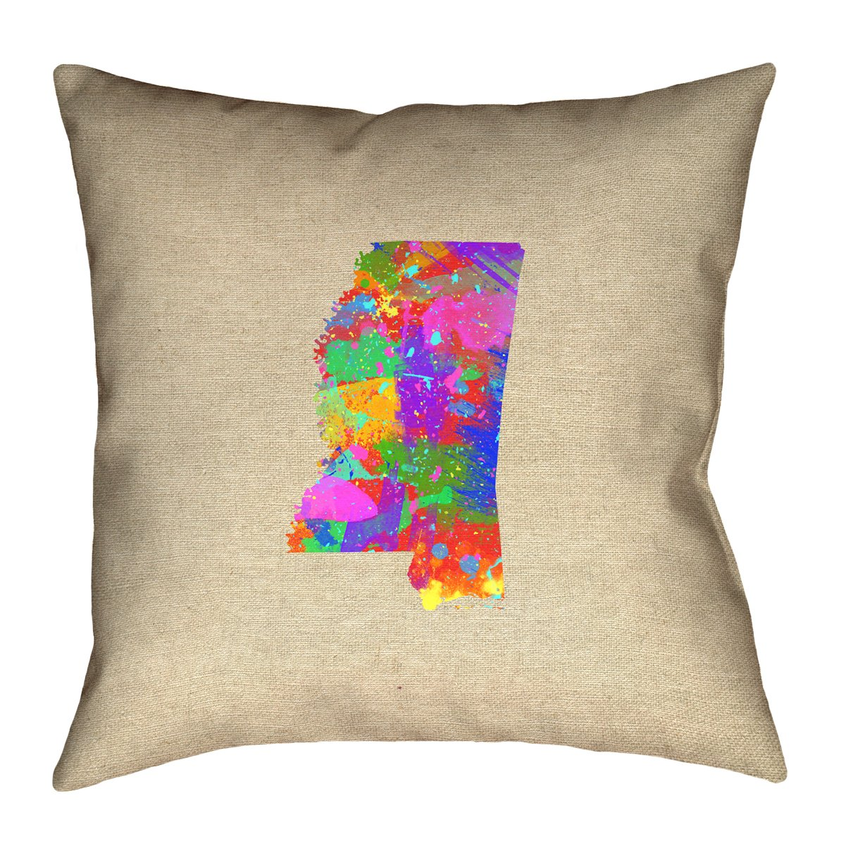 ArtVerse Katelyn Smith 36 x 36 Floor Double Sided Print with Concealed Zipper /& Insert Mississippi Watercolor Pillow