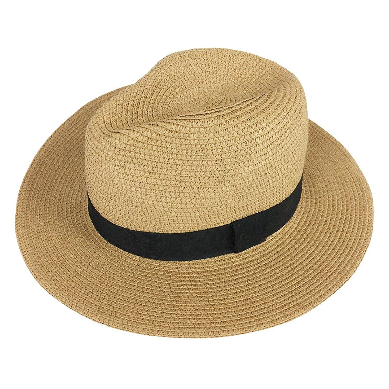 DRESHOW Women Wide Brim Straw Summer Panama Roll up Hat Fedora Beach Sun Hat UPF50+ HC0020-ABK