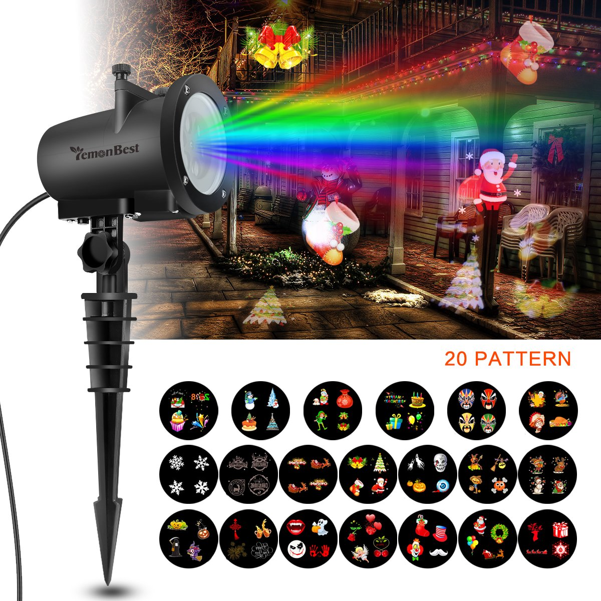 Projector Lights Outdoor&Indoor, 12W 20 Patterns Waterproof LED Projection Lamp with Remote Control for Birthday Party Wedding Holiday Decoration