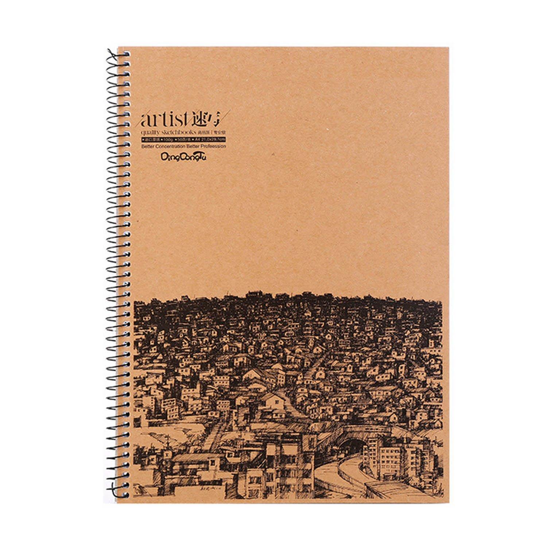 Beetest A4 Artista Sketch Libro Arte Disegno Carta a Spirale SketchBook per Matita Inchiostro Carbone Disegno Pittura 50 Fogli