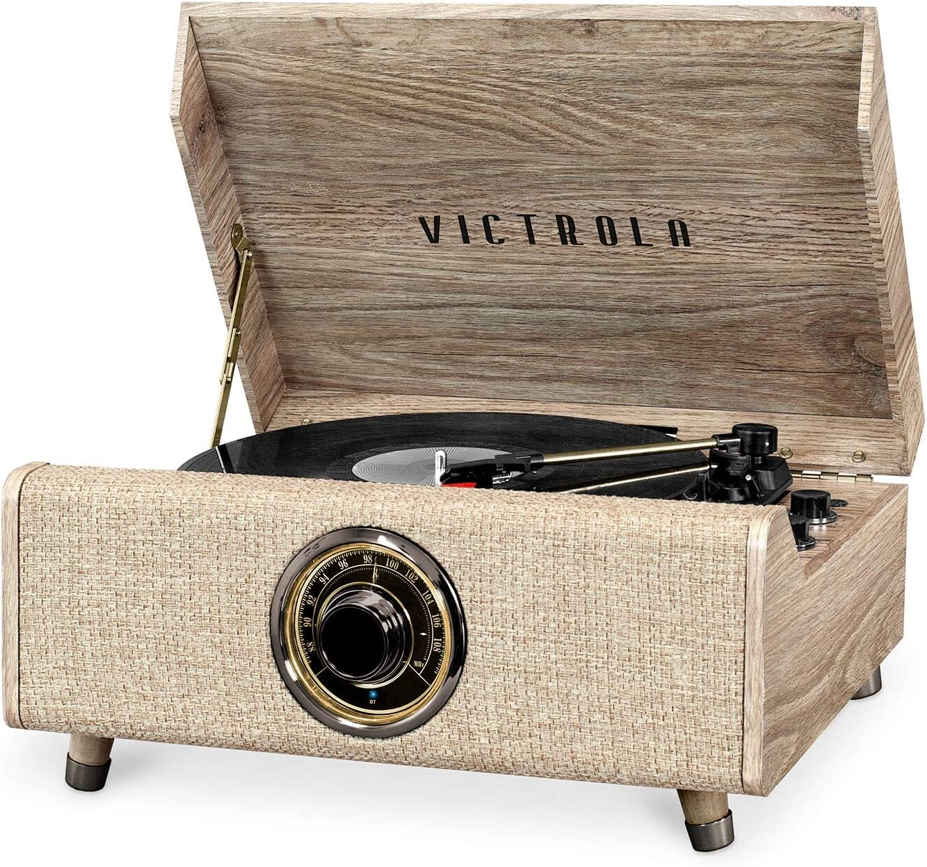 Victrola's 4-in-1 Highland Bluetooth Record Player with 3-Speed Turntable with FM Radio, Farmhouse Walnut (VTA-330B-FNT)
