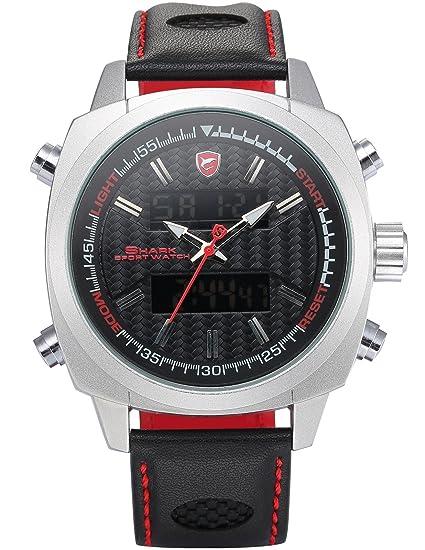 Silvertip Shark Deportivos Relojes De Pulseras Hombre Piel Alarma Día Fecha Pantalla LED SH492: Amazon.es: Relojes