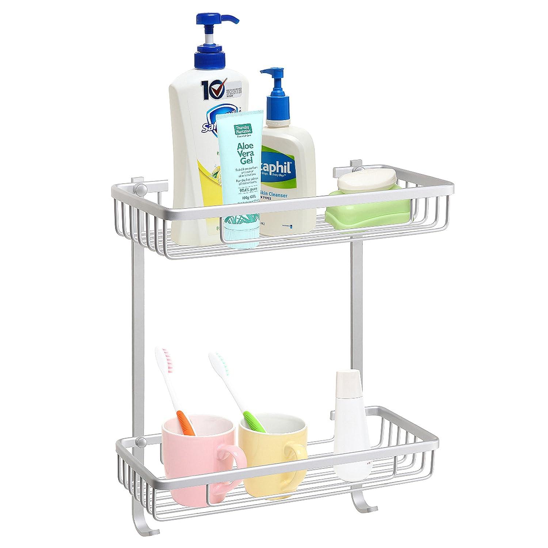 2-Tier Aluminum Wall Mounted Bathroom Accessory Organizer Shelf Rack / Shower Caddy w/ Hooks - MyGift