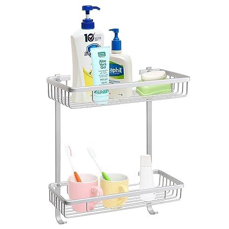 2 Tier Aluminum Wall Mounted Bathroom Accessory Organizer Shelf Rack / Shower  Caddy W/