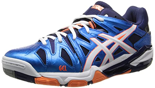 Asics B402Y Men's GEL-SENSEI 5 Volleyball Shoes, Diva Blue/White/Oran