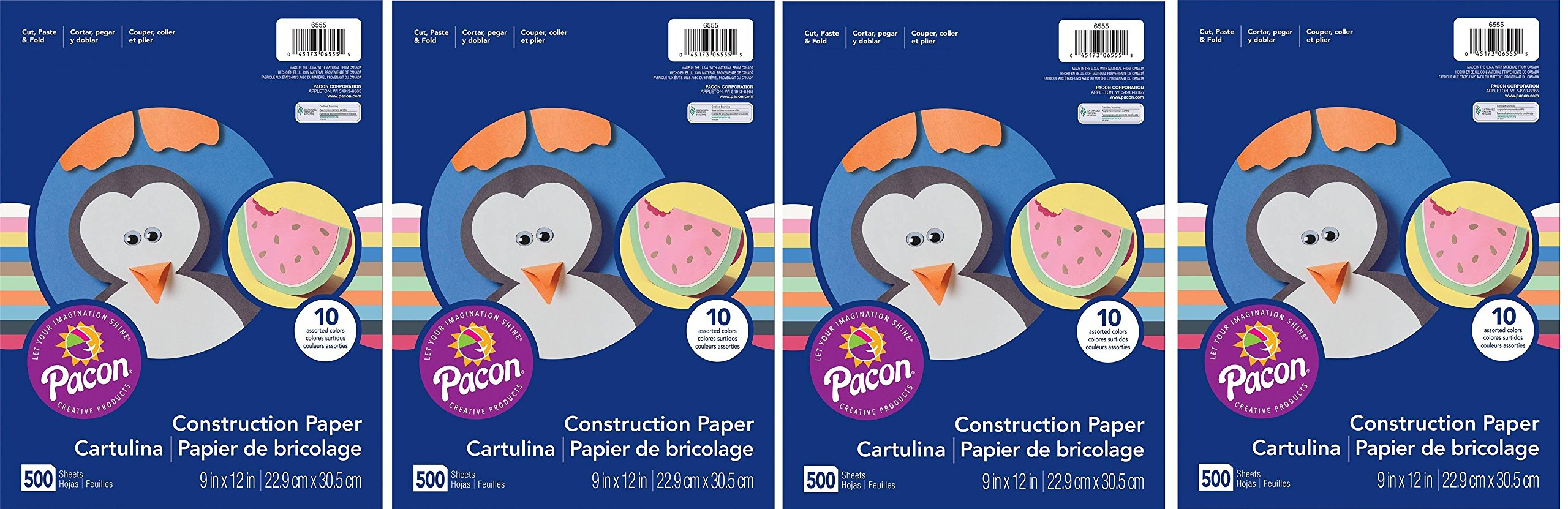 Pacon Lightweight cxNFSc Construction Paper, 9 Inches by 12 Inches, Assorted Colors, 500 Count (Pack of 4) by Pacon