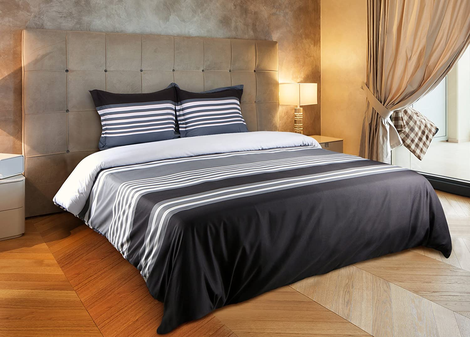 Striped Duvet Cover Set (King) - Brushed Microfiber - Luxurious Hotel Quality By Utopia Bedding