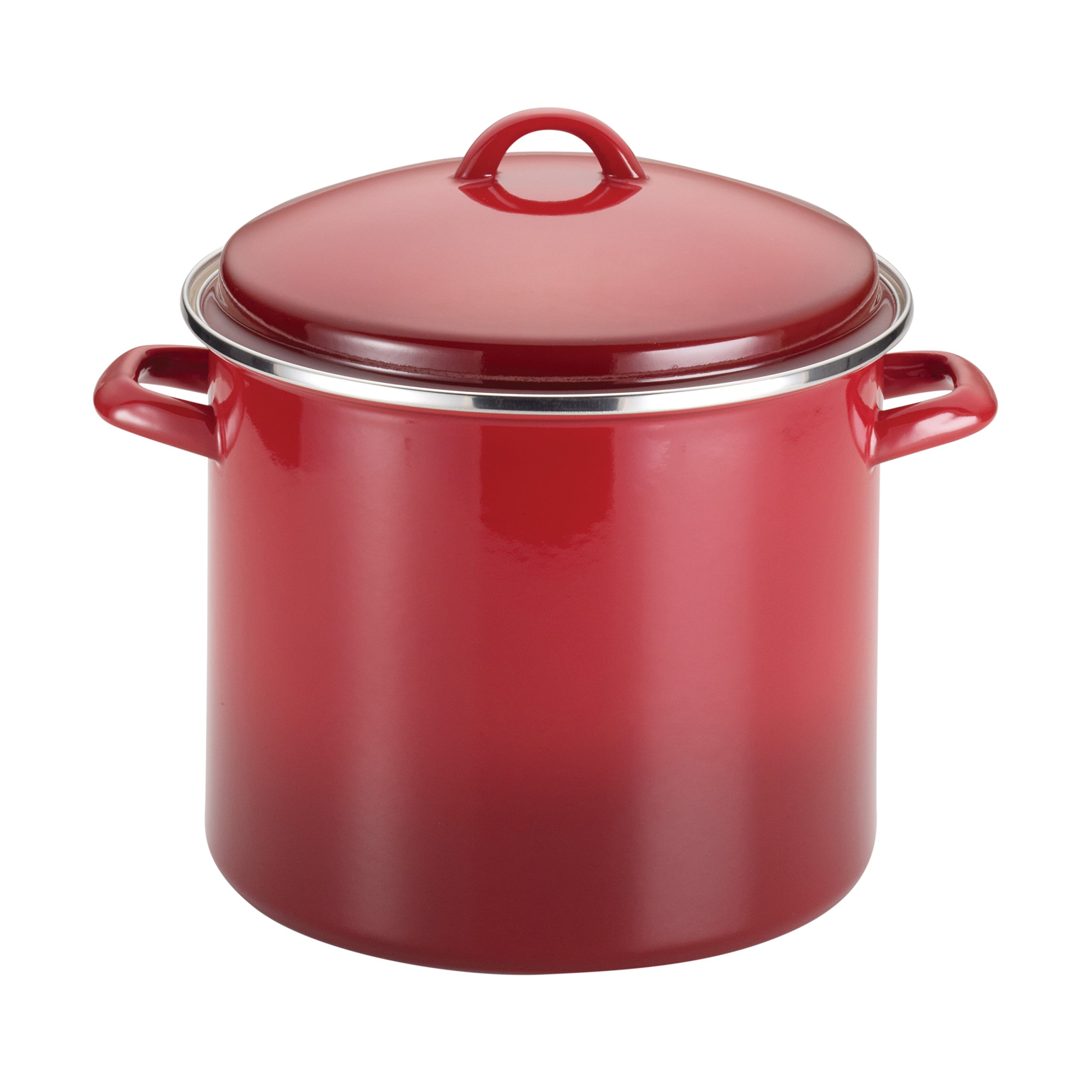 Rachael Ray 50497 12-Quart Covered, Red Gradient Enamel on Steel Stockpot,