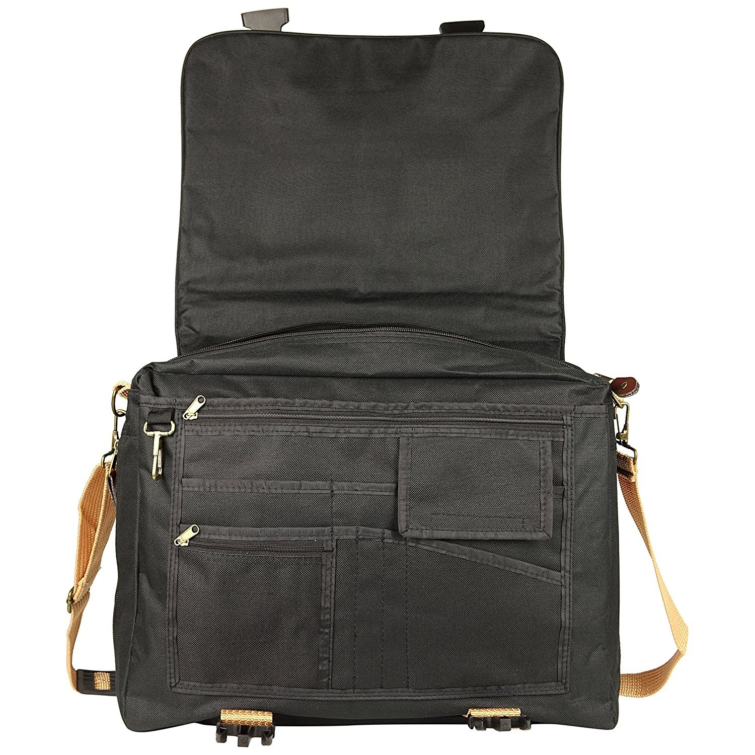 ImpecGear Deluxe Expandable Portfolio Adjustable w/Strap & Zippers (Pack of 1 (Black/Khaki))