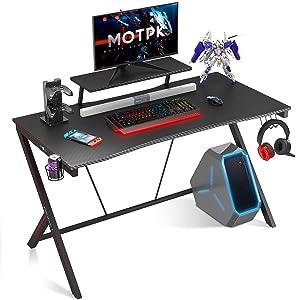 MOTPK Gaming Desk with Monitor Shelf, Cup Holder