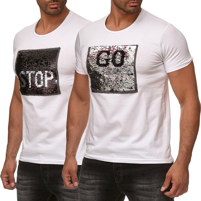 Red Bridge Camiseta de Hombre Lentejuelas Reversibles Emoji Stop & Go Shirt.: Amazon.es: Ropa y accesorios
