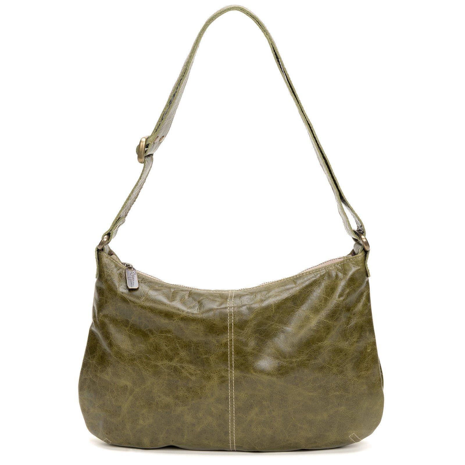 Green distressed Italian leather-Crossbody Hobo