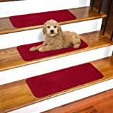 "Ottomanson Softy Solid Red Set of 14 Skid Resistant Rubber Backing Non Slip Carpet (9""x26"") Mats 14 Piece Set 9 Inch by 26 Inch Stair Tread, 9"" X"