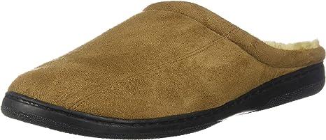 Mens Slippers Size 7-8 Warm Cozy Wool Fleece Lining Slip Resistant Durable Rubber Sole Soft Wear Resistant Microsuede Camel Brown Mens Memory Foam Microsuede Slip-On House Slipper
