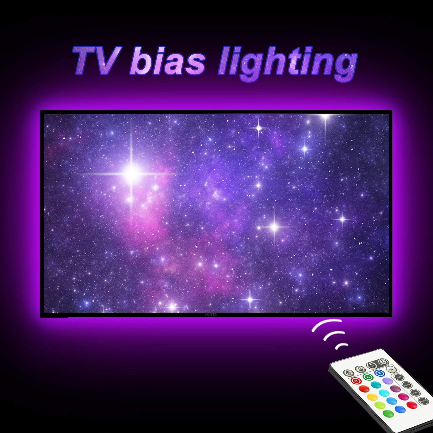 TV Bias Lighting,LED Strip Light USB Powered for 65 to 75 Inches HDTV, TV Backlight Kit with 24keys Remote 20 Color Options and Dimmable LED Lights WORATON