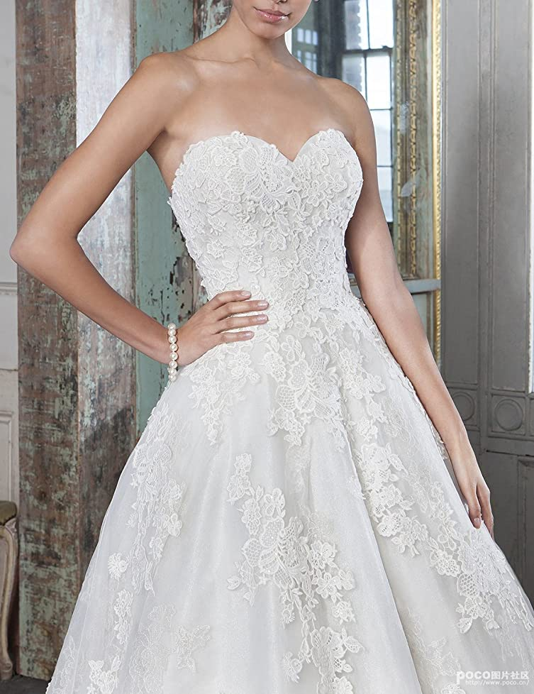 Beautbride Sweetheart Lace A-Line Tea-Length Wedding Dress ...
