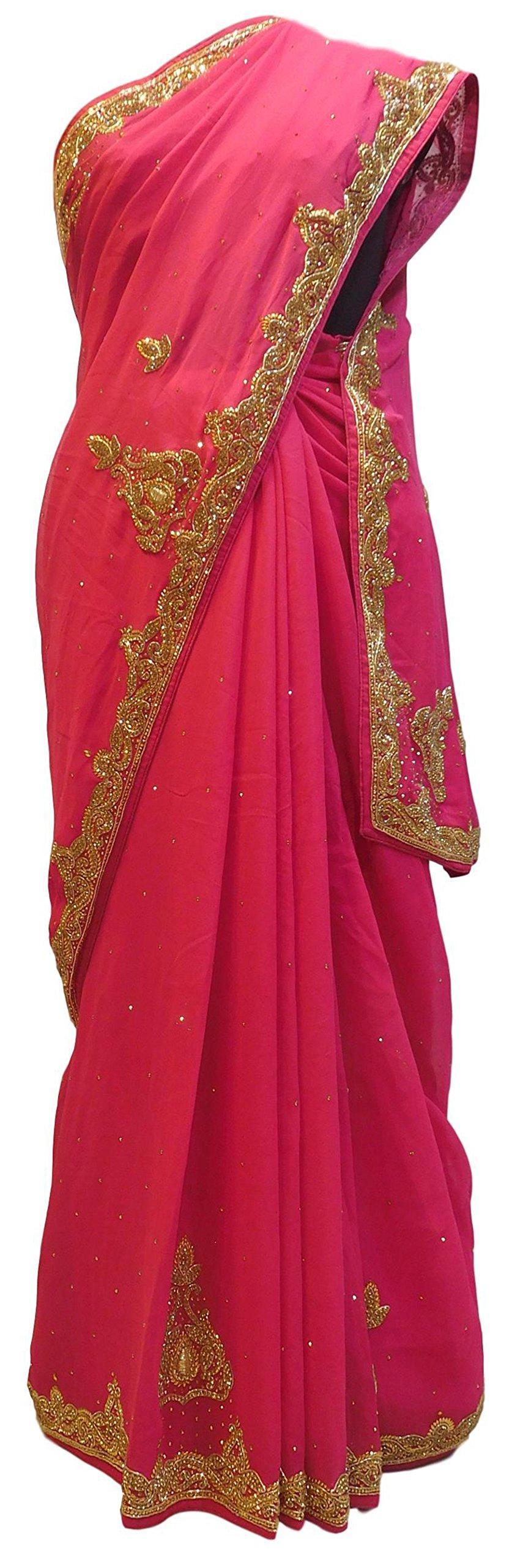 SMSAREE Pink Designer Bridal PartyWear Georgette (Viscos) Bullion Stone Work Wedding Saree Sari E034
