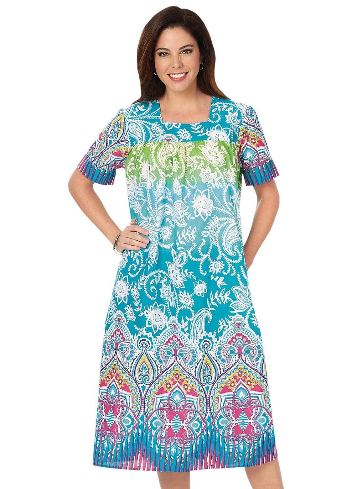 Carol Wright Gifts Flattering Batik Dress, Color Multi, Size Small, Multi, Size Small