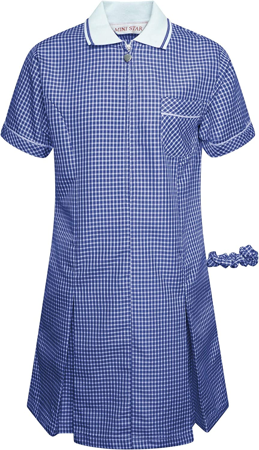 Girls School Gingham Summer Dress Pleated Check Star Zip Blue Red Green Yellow