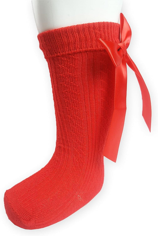 Baby Girl 1 Pair of Bow Knee High Socks Red Newborn upto 12-18 Months