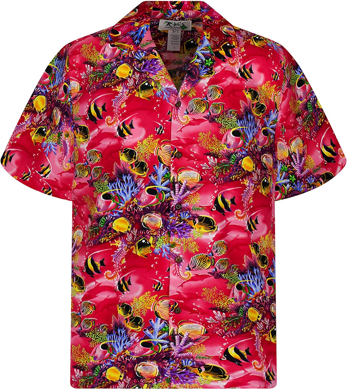 KYs | Original Camisa Hawaiana | Caballeros | S - 4XL | Manga Corta | Bolsillo Delantero | Estampado Hawaiano | Acuario Piscis | rojo