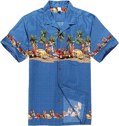 Hombres Aloha camisa hawaiana en Coches antiguos Palmeras Tablas de surf en Azul S: Amazon.es: Ropa y accesorios