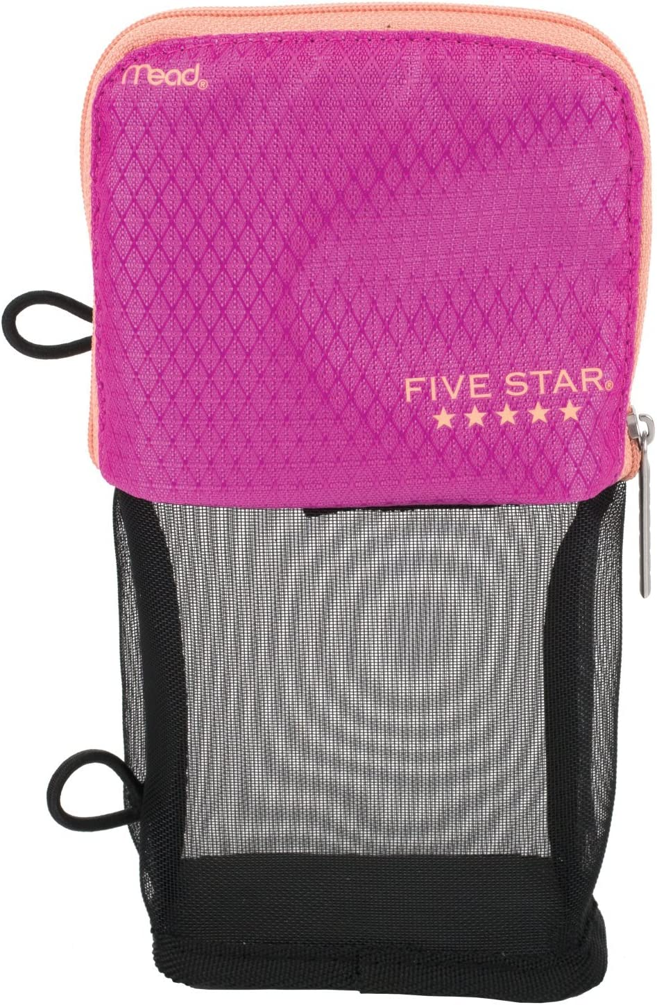 Five Star Pencil Pouch, Pen Case, Fits 3 Ring Binder, Stand 'N Store, Pink/Coral (50516CD8)