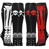8 Pairs Compression Socks Men Women 20-30 mmHg Knee High Compression Stockings for Sports Nurse Travel (Skull, Large/X-Large)