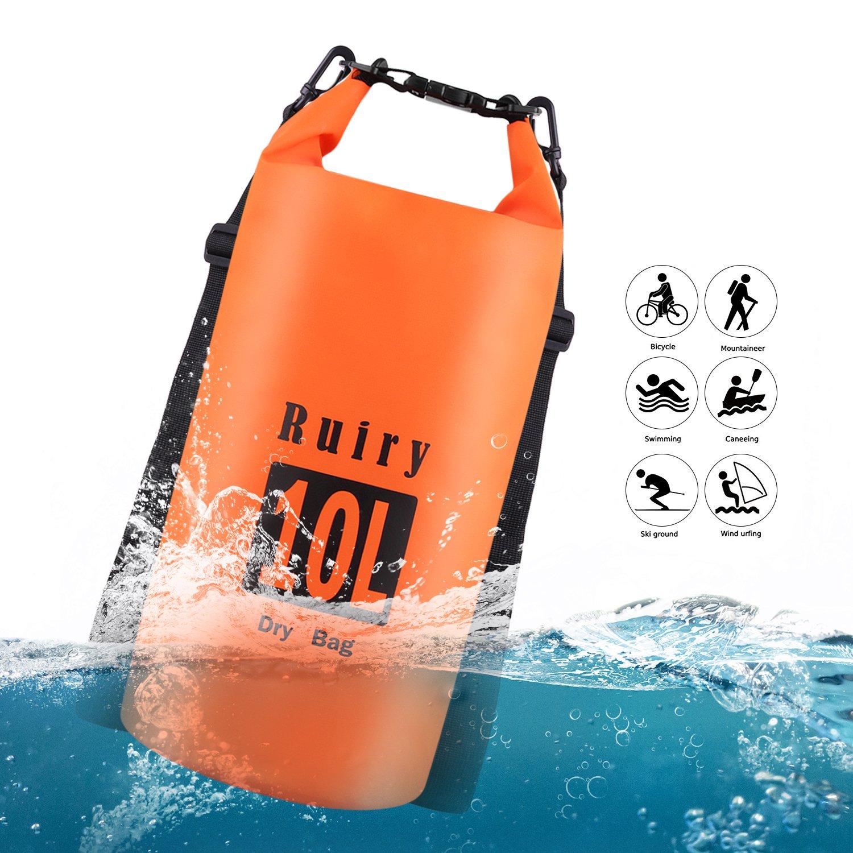 Ruiry Floating Waterproof Dry Bag 10L,Beach Dry Pack,Roll-Top-Sack Waterproof Bag, Waterproof Backpack for Kayaking, Rafting, Boating, Swimming, Camping, Hiking, Beach, Fishing