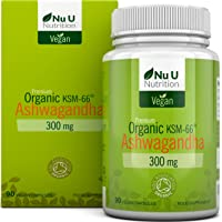 Ashwanghanda Organic Vegan 300mg Capsules   90 Capsules - 3 Month's Supply   Certified Organic Ashwagandha KSM-66 by The Soil Association   Ayurvedic Withania Somnifera   Made in The UK
