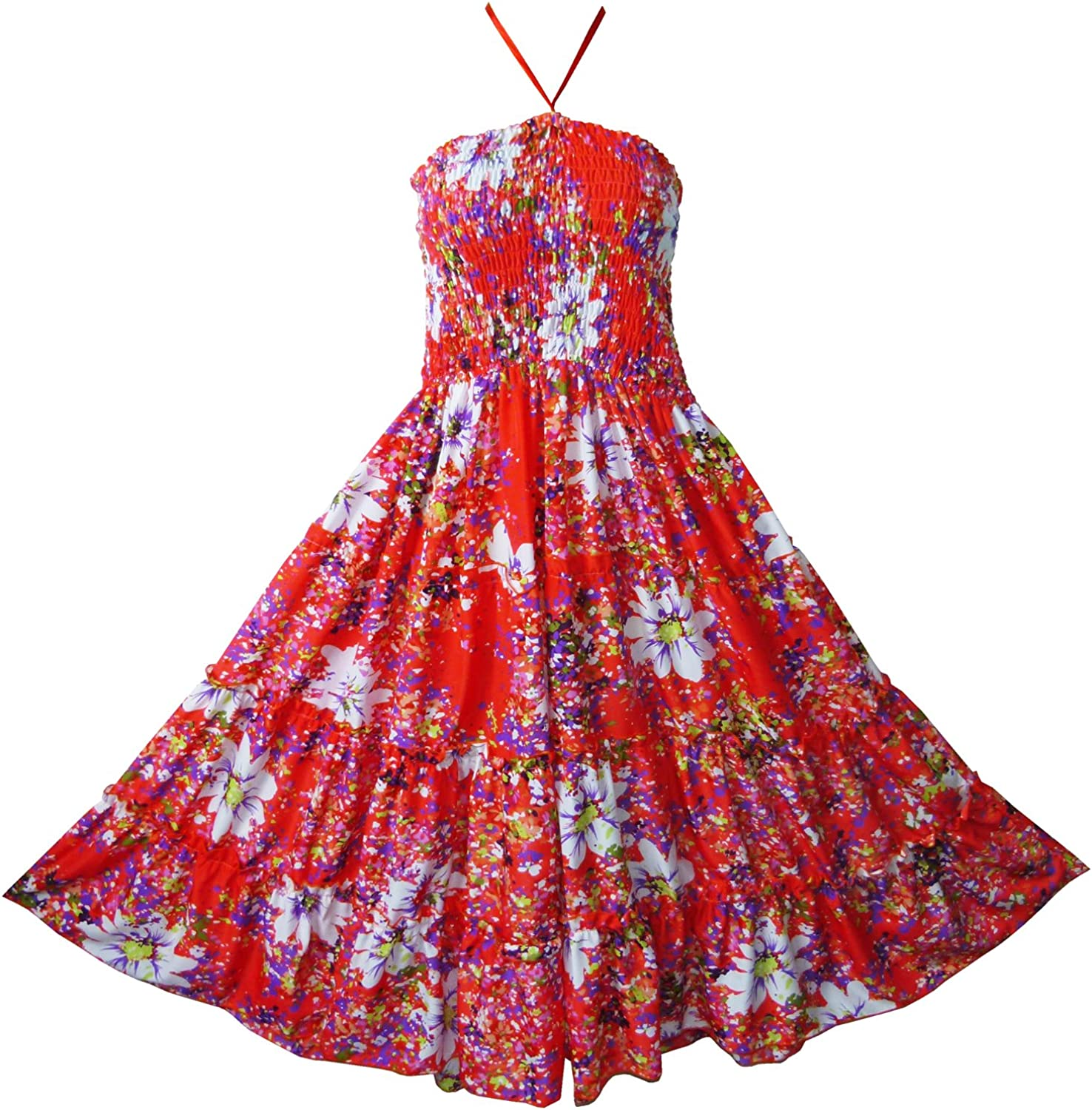 Pikulla Halter Smock Womens Red Garden Floral Hippie Gypsy Sundress
