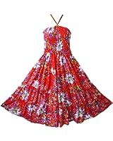 Pikulla Halter Smock Women's Red Garden Floral Hippie Gypsy Sundress