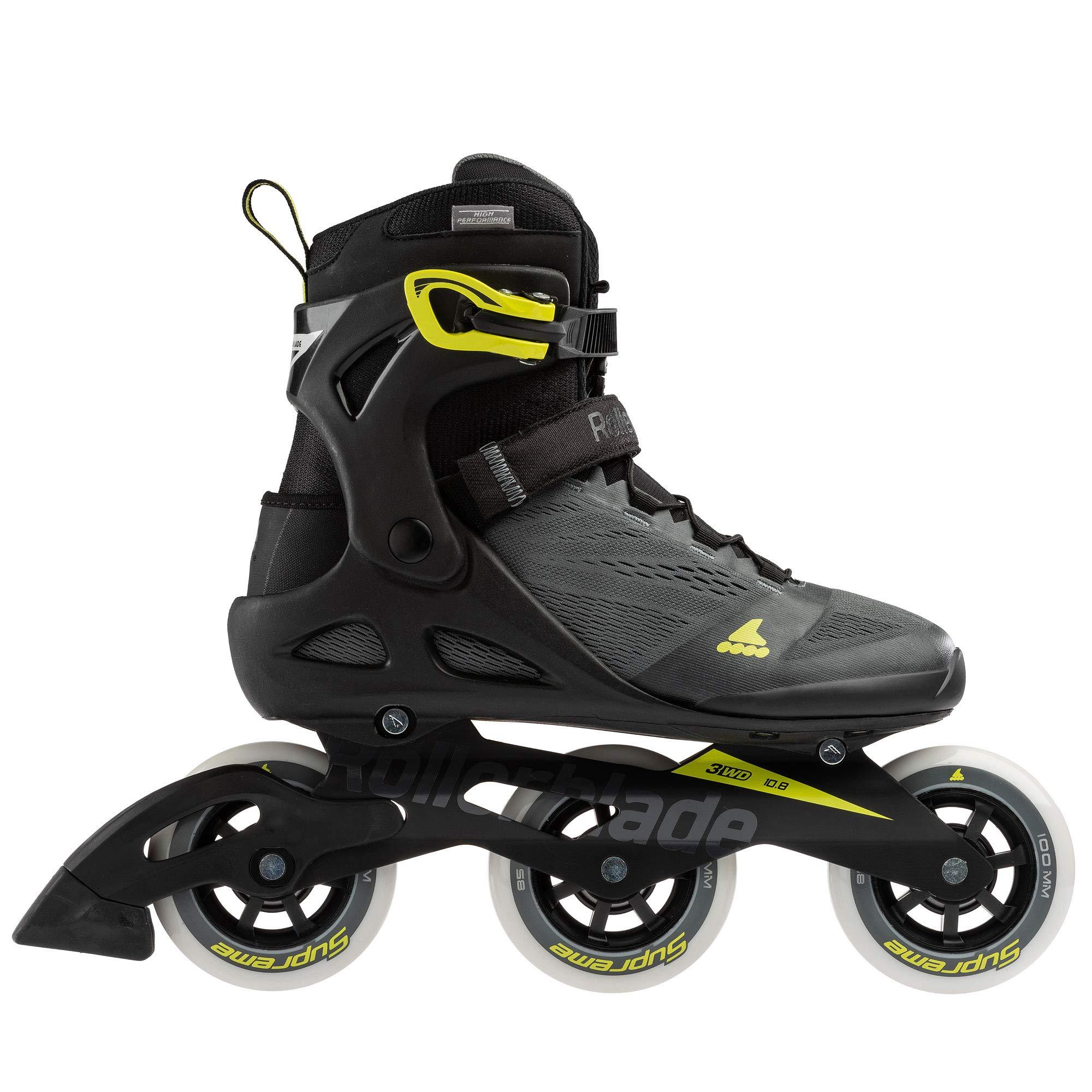 Rollerblade Macroblade 100 3Wd Men's Adult Fitness Inline Skate, Anthracite/Neon Yellow, Medium 9.5